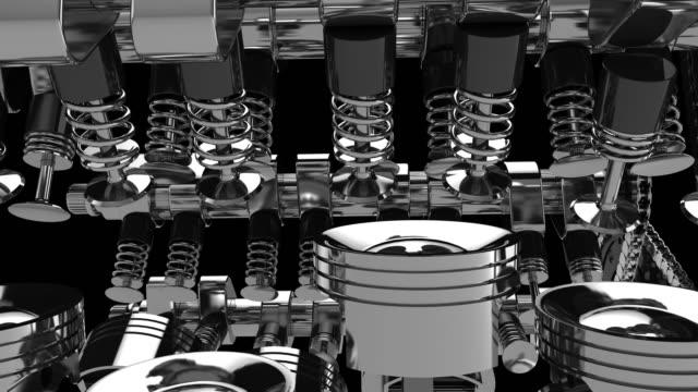 vídeos de stock, filmes e b-roll de motor v8 animação 3d de trabalho - motor