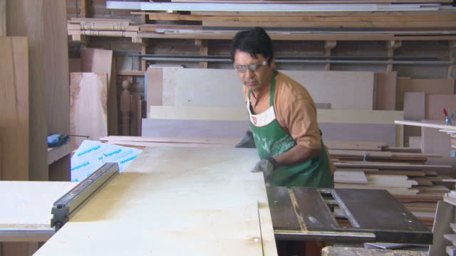 zo workman cutting plywood sheet with a table top saw in a shop / tijuana mexico - bordsyteinspelning bildbanksvideor och videomaterial från bakom kulisserna