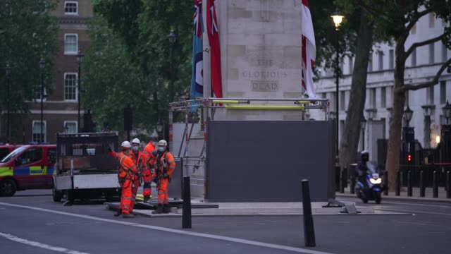 workmen erect scaffolding protection around the cenotaph in whitehall ahead of protests this weekend on june 11 2020 in london england outside the... - weekend activities stock videos & royalty-free footage