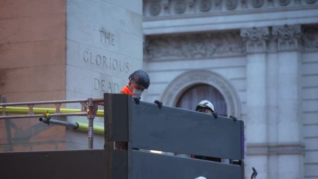 workmen erect scaffolding protection around the cenotaph in whitehall ahead of protests this weekend on june 11, 2020 in london, england. outside the... - manual worker stock videos & royalty-free footage