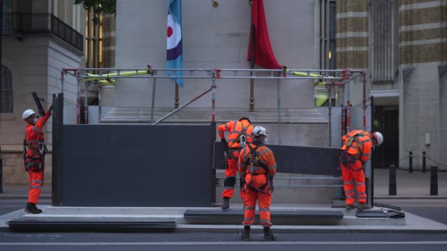 workmen erect scaffolding protection around the cenotaph in whitehall ahead of protests this weekend on june 11 2020 in london england outside the... - leisure activity stock videos & royalty-free footage