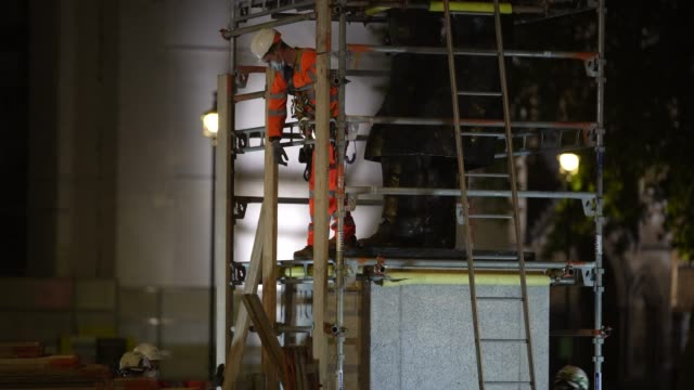 workmen erect scaffolding protection around the winston churchill statue at parliament square ahead of protests this weekend on june 11 2020 in... - weekend activities stock videos & royalty-free footage