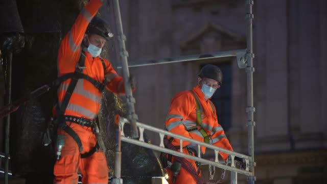 workmen erect scaffolding protection around the winston churchill statue at parliament square ahead of protests this weekend on june 11 2020 in... - scaffolding stock videos & royalty-free footage