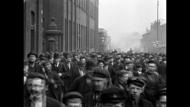 1900 - workmen leaving platt's works - england stock videos & royalty-free footage