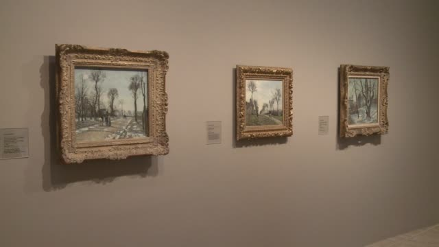 Works by the french painter Camille Pissarro one of the founders of the Impressionist movement go on disply at the Thyssen Museum in Madrid CLEAN...