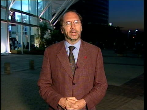 world aids conference:; b)c4n: alex thomson - piot interview itn south africa: durban: dusk peter piot interview sot - without resources there is no... - retrovirus video stock e b–roll