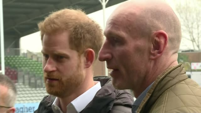 prince harry meets former wales rugby captain gareth thomas england london ext various shots of prince harry duke of sussex and gareth thomas... - gareth thomas rugby player stock videos & royalty-free footage