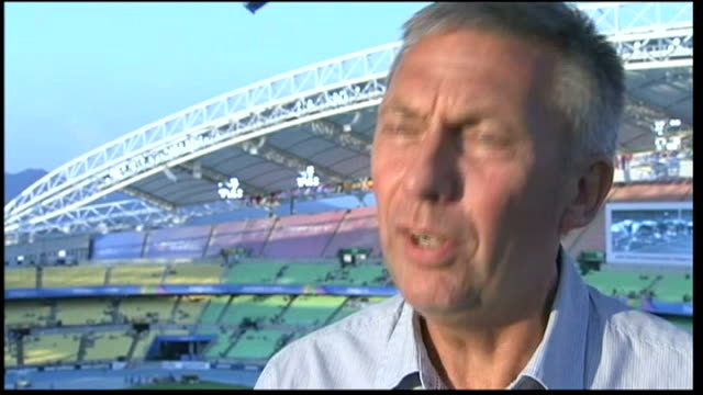 world athletics championships: dai green wins gold medal / hannah england wins silver medal; david moorcroft interview sot - [on whether mo farah is... - zweiter platz stock-videos und b-roll-filmmaterial