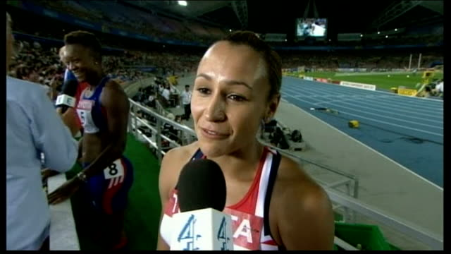 world athletics championships: jessica ennis wins heptathlon silver; jessica ennis interview sot - the javelin was a big disaster for me / to win a... - javelin stock videos & royalty-free footage
