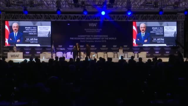 World Business Angels Investment Forum kicks off in Istanbul Turkey on February 19 2018 Turkish Development Minister Lutfi Elvan speaks at the WBAF...