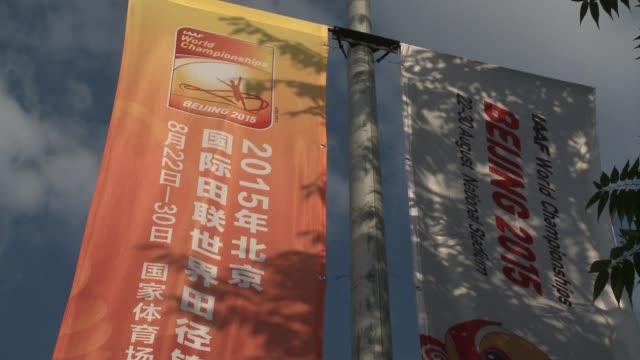 vídeos de stock, filmes e b-roll de world championships preview / doping allegations china beijing ext young boy taking photograph of beijing national stadium bird's nest stadium 'roof'... - abuso de substâncias