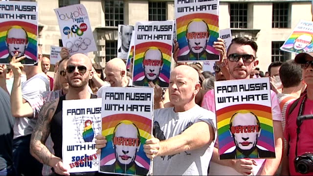 Yelena Isinbayeva qualifies her comments on Russian antigay laws 1082013 Whitehall EXT Various shots of protesters gathered opposite Downing Street...
