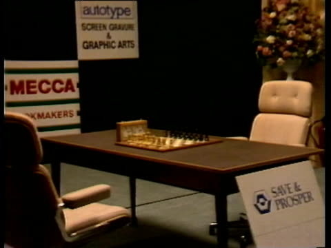/ world chess championships at park lane hotel / first game, between champion garry kasparov, and former champion anatoly karpov ended in a draw /... - tim rice stock videos & royalty-free footage