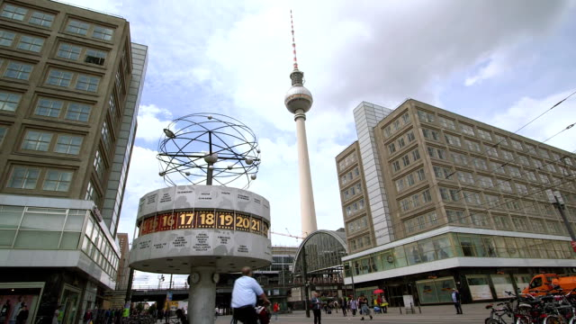 world clock with tv tower, berlin, germany - alexanderplatz stock videos & royalty-free footage