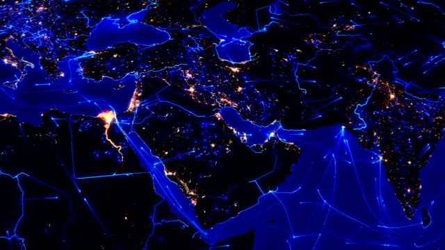 world connections. aerial, maritime, ground routes/country borders. middle east. - middle east stock videos & royalty-free footage