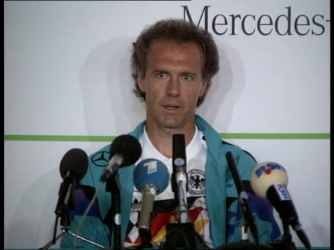 england team franz beckenbauer manager wgermany speaking at pkf austin i/c - 1990 stock videos & royalty-free footage