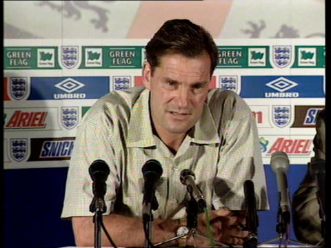 england knocked out by argentina france brittany la baule int glenn hoddle press conference sot not a time for scapegoats / thought beckham offence... - france stock videos & royalty-free footage