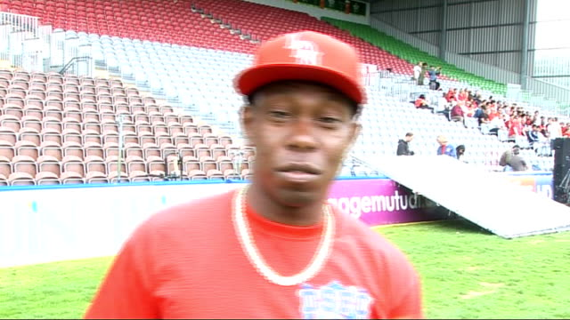 dizzee rascal and james corden record 'shout for england' world cup song; england: london: ext dizzee rascal interview sot - on performing on... - fifa world cup 2010 stock videos & royalty-free footage