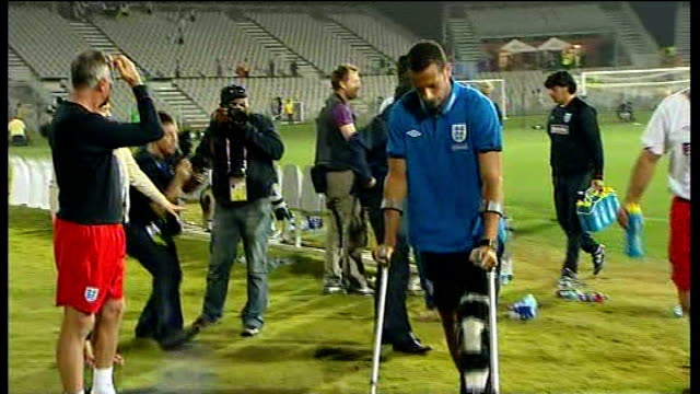 england beat platinum stars in warm-up match; rio ferdinand leaving pitch side at end of match - platinum stock-videos und b-roll-filmmaterial