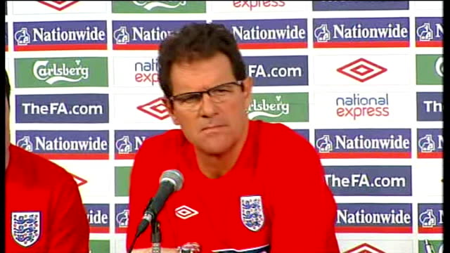 england captain rio ferdinand forced out through injury; int fabio capello press conference sot - discusses ferdinand injury - international team soccer stock videos & royalty-free footage