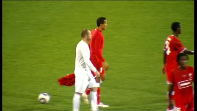 england vs. platinum stars friendly: arrivals and match-play; whistle being blown at end of match / rooney shaking hands with and hugging platinum... - fifa world cup 2010 stock videos & royalty-free footage