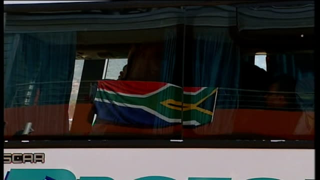 england vs platinum stars friendly arrivals and matchplay south africa rustenburg moruleng stadium ext coach arriving and unidentified people... - fifa world cup 2010 stock videos & royalty-free footage