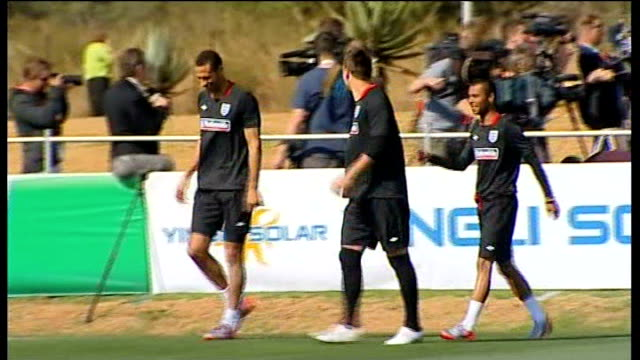 ferdinand out of england squad / drogba injury; south africa: rustenburg: ext rio ferdinand, john terry and ashley cole out onto training pitch at... - côte d'ivoire stock videos & royalty-free footage