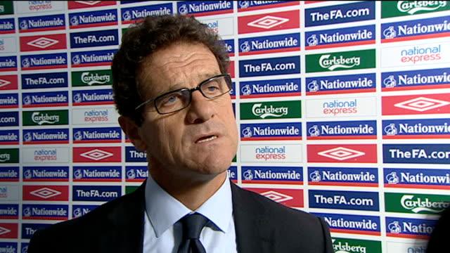 England v Kazakhstan Postmatch interviews ENGLAND London Wembley Stadium INT Fabio Capello postmatch interview SOT On whether the 5 1 scoreline was...
