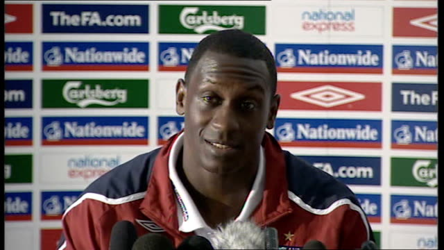 world cup 2010 qualifiers: england press conference; emile heskey press conference sot - with two games we played lads are happy to be back again and... - fußballweltmeisterschaft 2010 stock-videos und b-roll-filmmaterial