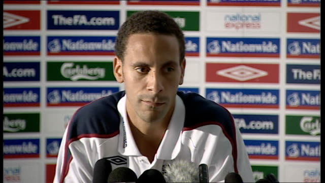 England press conference Rio Ferdinand press conference SOT Not easy for a young lad to come into a international squad quiet lad more confident nice...