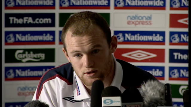 world cup 2010 qualifiers: england press conference; wayne rooney press conference sot - i had problem with my ankle in last 2 weeks, have to be... - performance improvement stock videos & royalty-free footage
