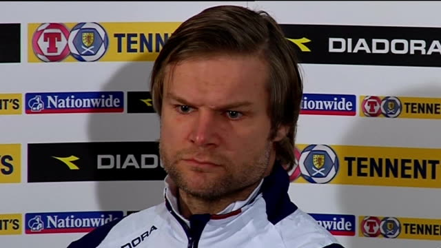 world cup 2010 qualifiers: scotland press conference; steven pressley press conference sot - on handling ediur gudjohnsen / scott brown will need to... - only boys stock videos & royalty-free footage