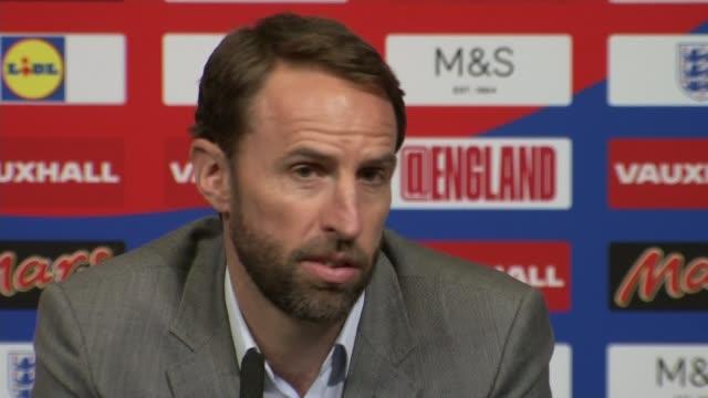 England Manager Gareth Southgate selects youthful squad ENGLAND London Wembley Wembley Stadium INT Gareth Southgate press conference SOT re England...