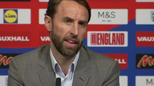 england manager gareth southgate selects youthful squad england london wembley wembley stadium int gareth southgate press conference sot re england... - fifa world cup stock videos & royalty-free footage