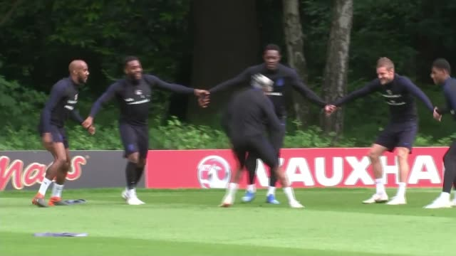 England squad prepared to face racist abuse in Russia LIB ENGLAND Hertfordshire London Colney EXT England players laughing during England training...