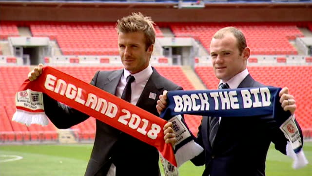 fifa president thinks england has potential lib wembley stadium ext david beckham and wayne rooney at launch of england's bid to host the world cup... - fifa stock videos and b-roll footage