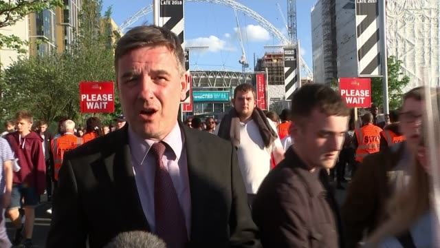 England beat Nigeria in friendly match ENGLAND London Wembley Way EXT Reporter to camera/ Vox pops/ England fans along Wembley Way as leaving stadium