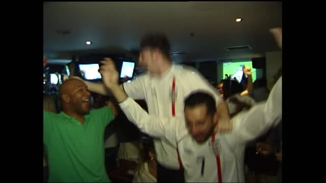england beat denmark; h)17.15: terry lloyd itn england: london: int england fans singing england fans in bar to watch game v denmark fan drinking... - itv news at five stock videos & royalty-free footage