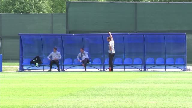 england training session russa st petersburg zelenogorsk ext gareth southgate chatting to coaches by dugout - fifa world cup 2018 stock videos & royalty-free footage
