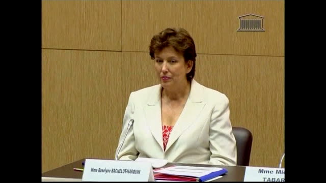 world cup failure becomes national scandal; france: paris: int sports minister roselyne bachelot at inquiry and giving evidence sot - met the players... - roselyne bachelot stock videos & royalty-free footage