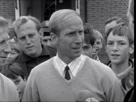 bobby charlton and jack charlton interview england london hendon hall hotel charlton sof a bit of an anticlimax this you tend to think of it after... - jack charlton stock videos & royalty-free footage