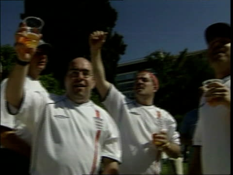 england vs greece/estonia vs republic of ireland ms group of england fans drinking beer and singing 'rule britannia' sot - england stock videos & royalty-free footage