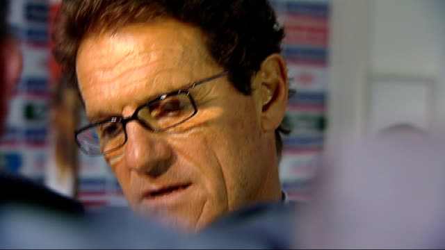 England v Croatia postmatch interviews ENGLAND London Wembley Stadium INT Various shots of Fabio Capello talking to press in tunnel after England...