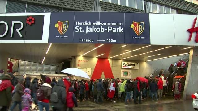 Northern Ireland v Switzerland SWITZERLAND Basel EXT Northern Ireland fans gathered outside unidentified building / St JakobPark stadium Northern...