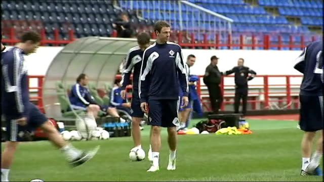 preparations; northern ireland: ext general views of northern ireland players training - international team soccer stock videos & royalty-free footage