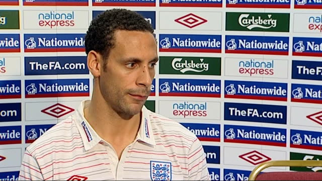 previews Hertfordshire London Colney INT Rio Ferdinand press conference SOT Winning mentalities Reporter to camera