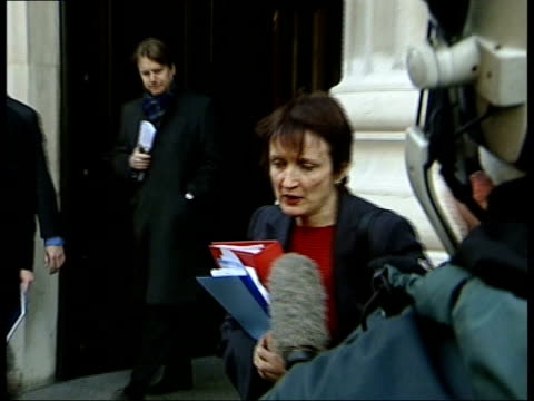 Row over Zimbabwe match ITN ENGLAND London Tessa Jowell MP from building to press ZOOM CMS Tessa Jowell MP speaking to press about discussions...