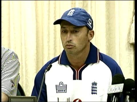 Still no decision over Zimbabwe match ITN AFRICA Cape Town EXT GVs England cricket team playing football INT Tim Lamb Nasser Hussain at press...