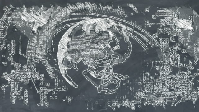 world earth on chalkboard - continente area geografica video stock e b–roll