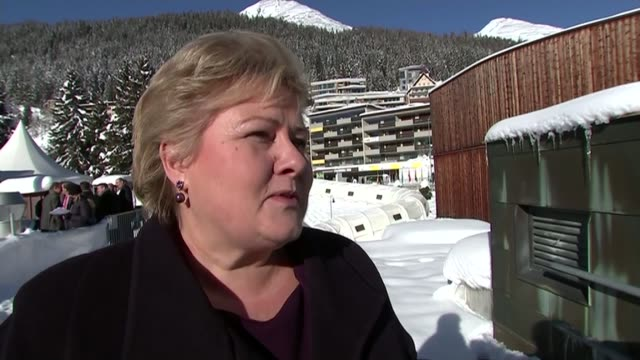 Norwegian Prime Minister interview SWITZERLAND Davos EXT Erna Solberg interview SOT on whether Norwegian system would work for Britain have to give...